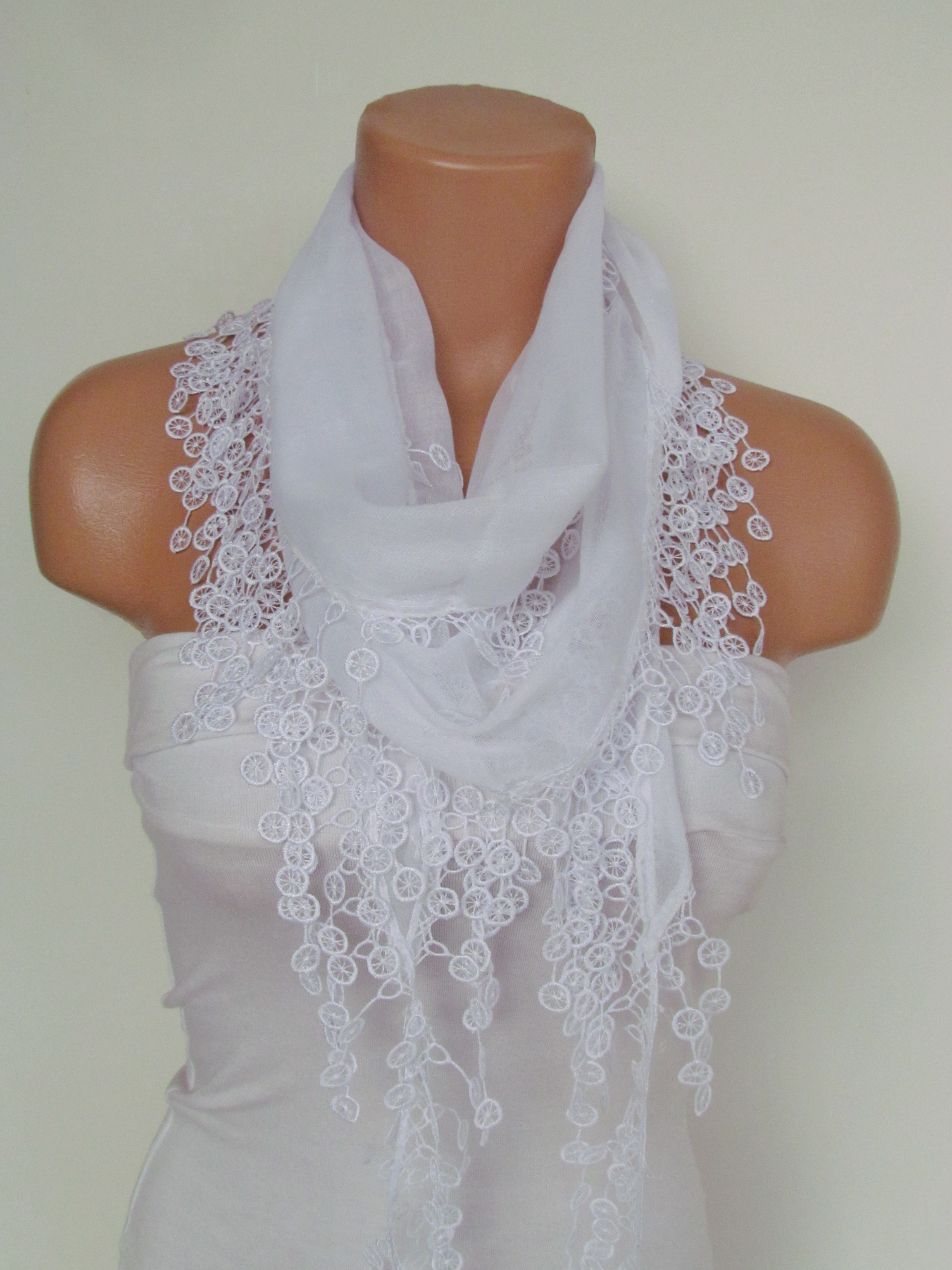 059b89676ec1d Long Scarf With Fringe-New Season Scarf-Headband-Necklace- Infinity Scarf-  Spring Accessory-White Sc on Luulla