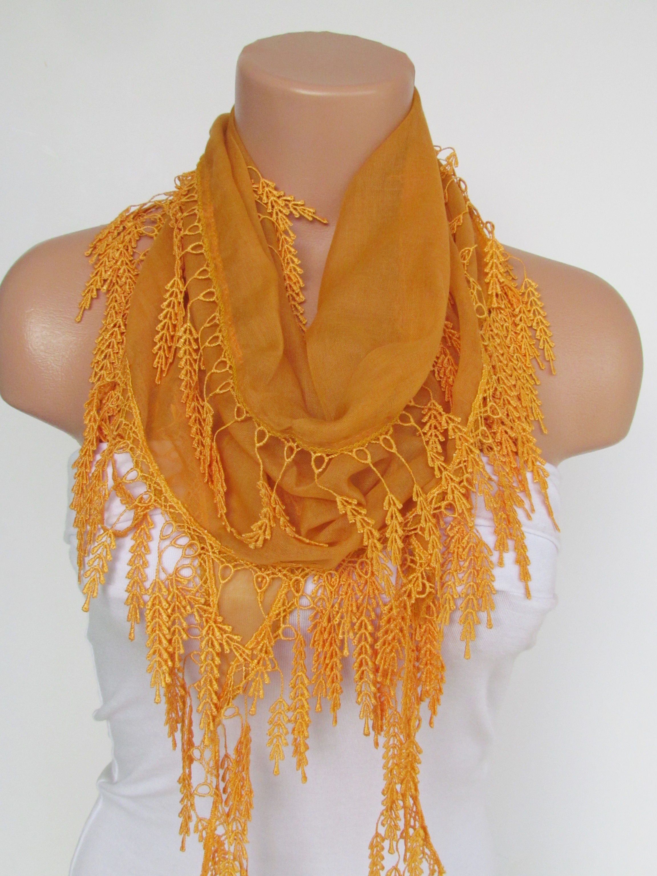 1e56997722718 Long Scarf With Fringe-New Season Scarf-Headband-Necklace- Infinity Scarf-  Spring Accessory-Yellow S on Luulla
