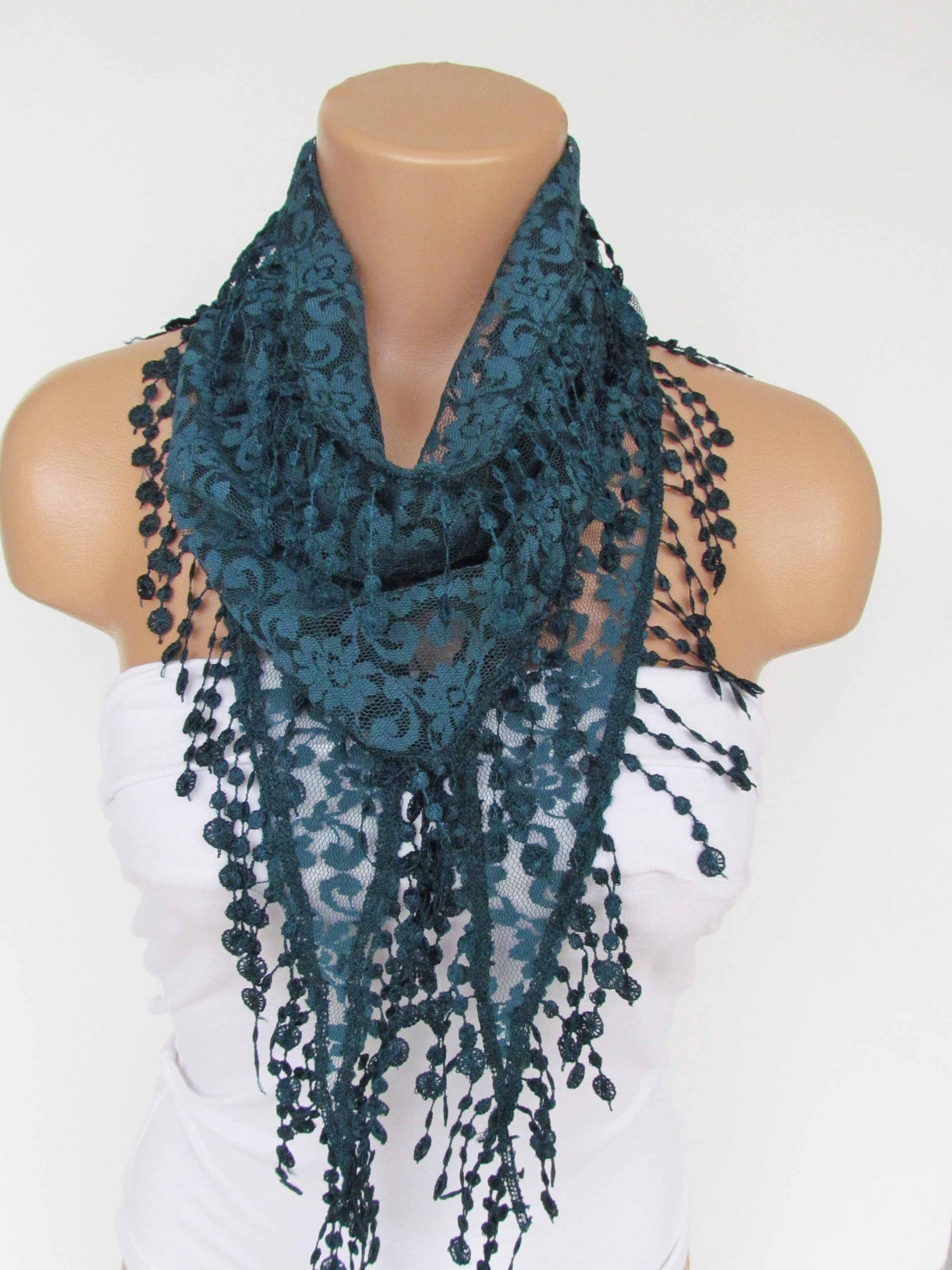e2627b2b76075 Teal Green Lace Scarf With Fringe New Season Scarf-Headband-Necklace- Infinity  Scarf- Accessory-Long on Luulla