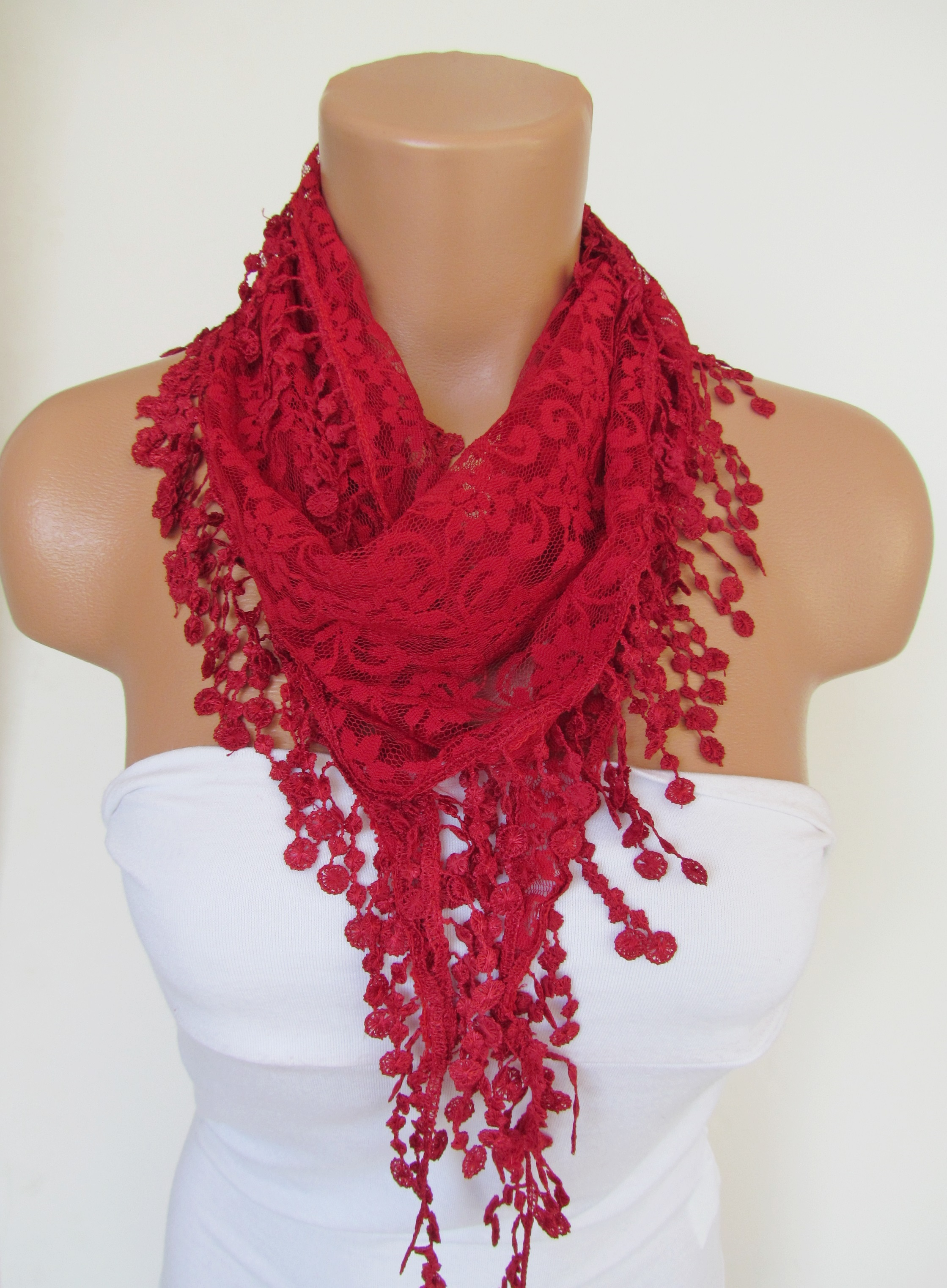 1c3cbee2c5035 Red Long Scarf With Fringe-Winter Fashion Scarf-Headband-Necklace- Infinity  Scarf- Winter Accessory- on Luulla