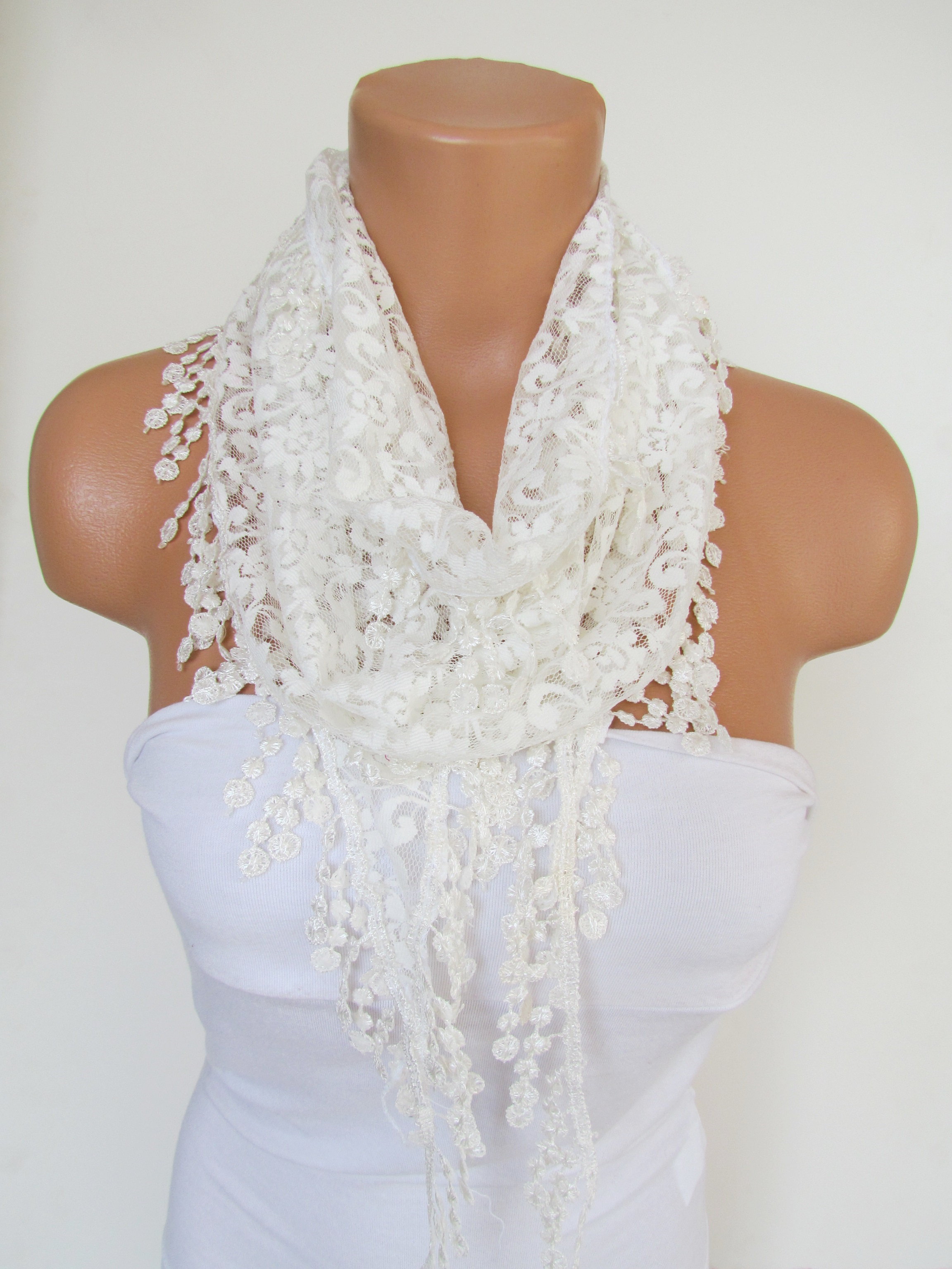 b7520004700e6 Cream Long Scarf With Fringe-Winter Fashion Scarf-Headband-Necklace- Infinity  Scarf- Winter Accessor on Luulla