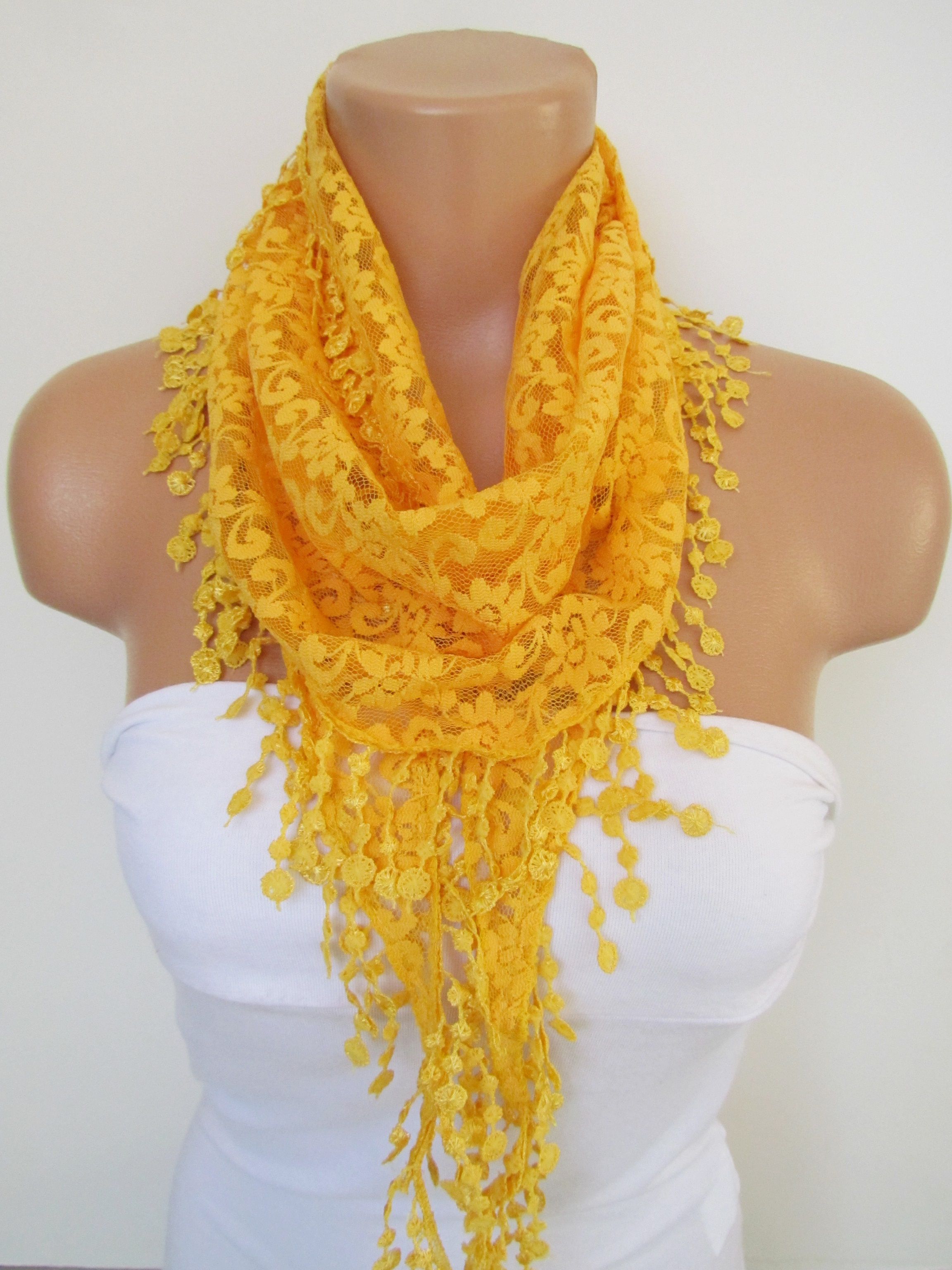 453697039fe2f Yellow Long Scarf With Fringe-Winter Fashion Scarf-Headband-Necklace- Infinity  Scarf- Winter Accesso on Luulla