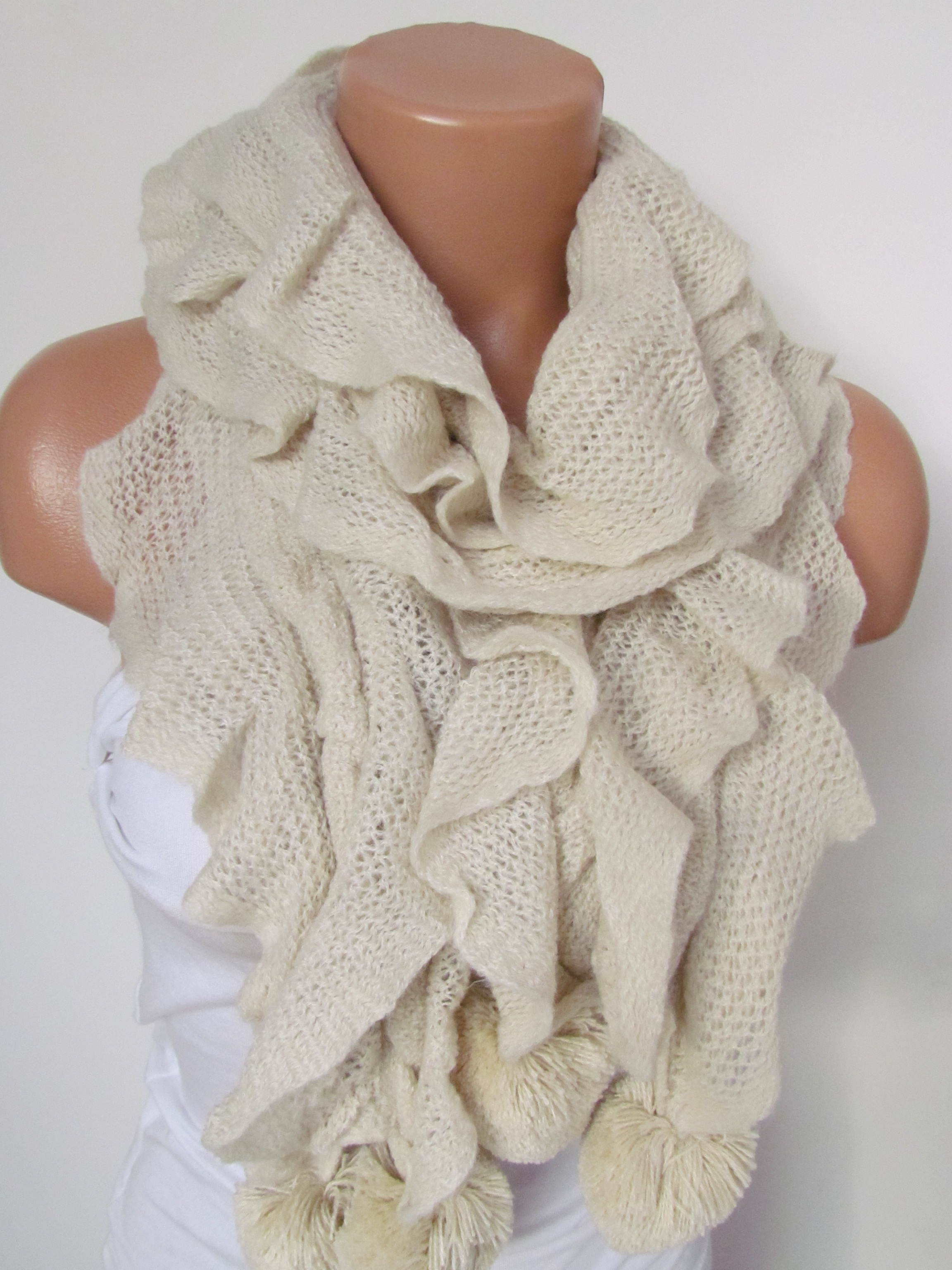443b6e9bfab Stone Knitted Fabric Scarf - Shawl Scarf - Winter Fashion Scarf - Ruffle  Scarf - Infinty Scarf - Neck Warmer