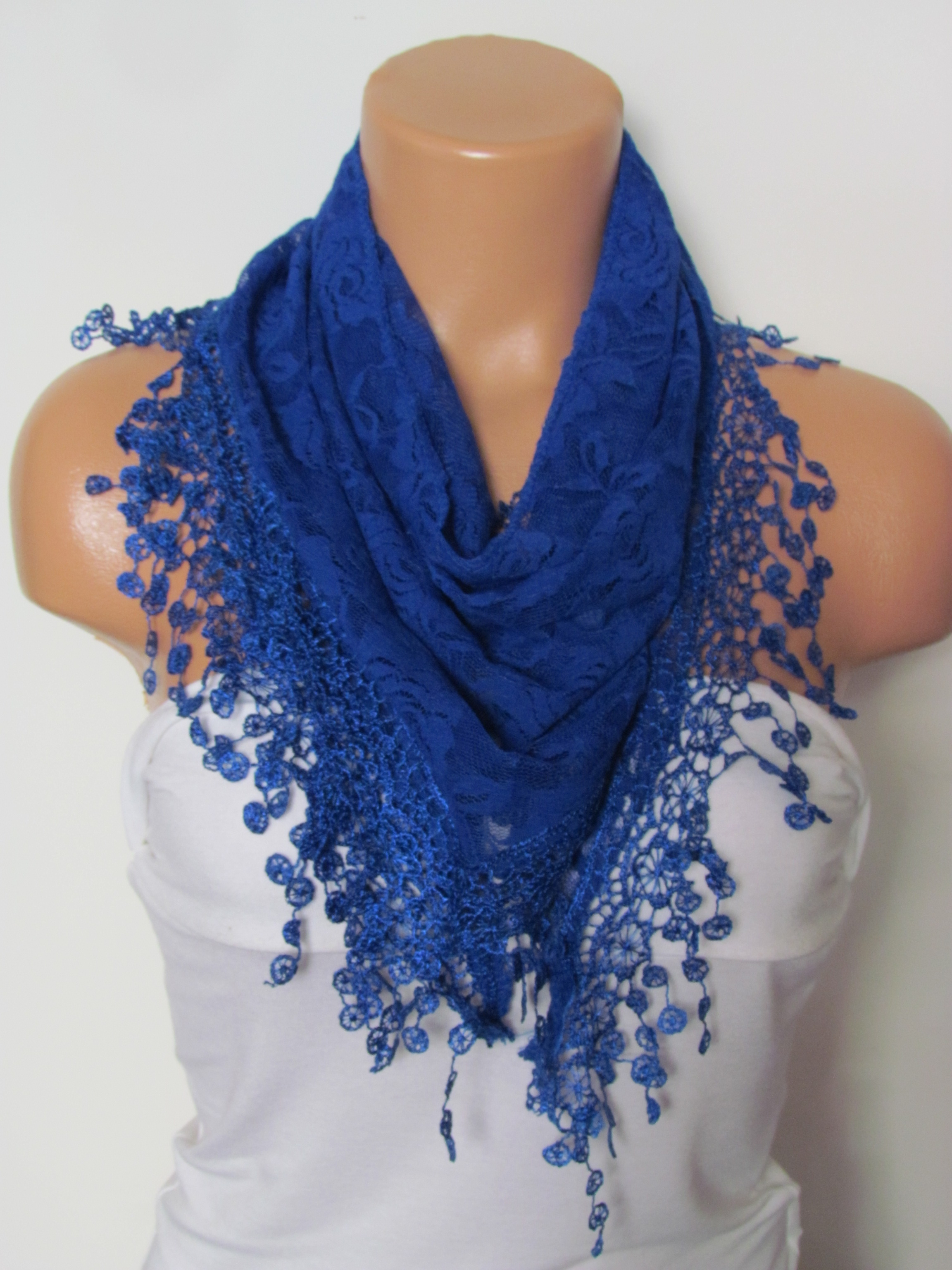 c501eecad51db Royal Blue Long Scarf With Fringe-Winter Fashion Scarf-Headband-Necklace- Infinity  Scarf- Winter Acc on Luulla