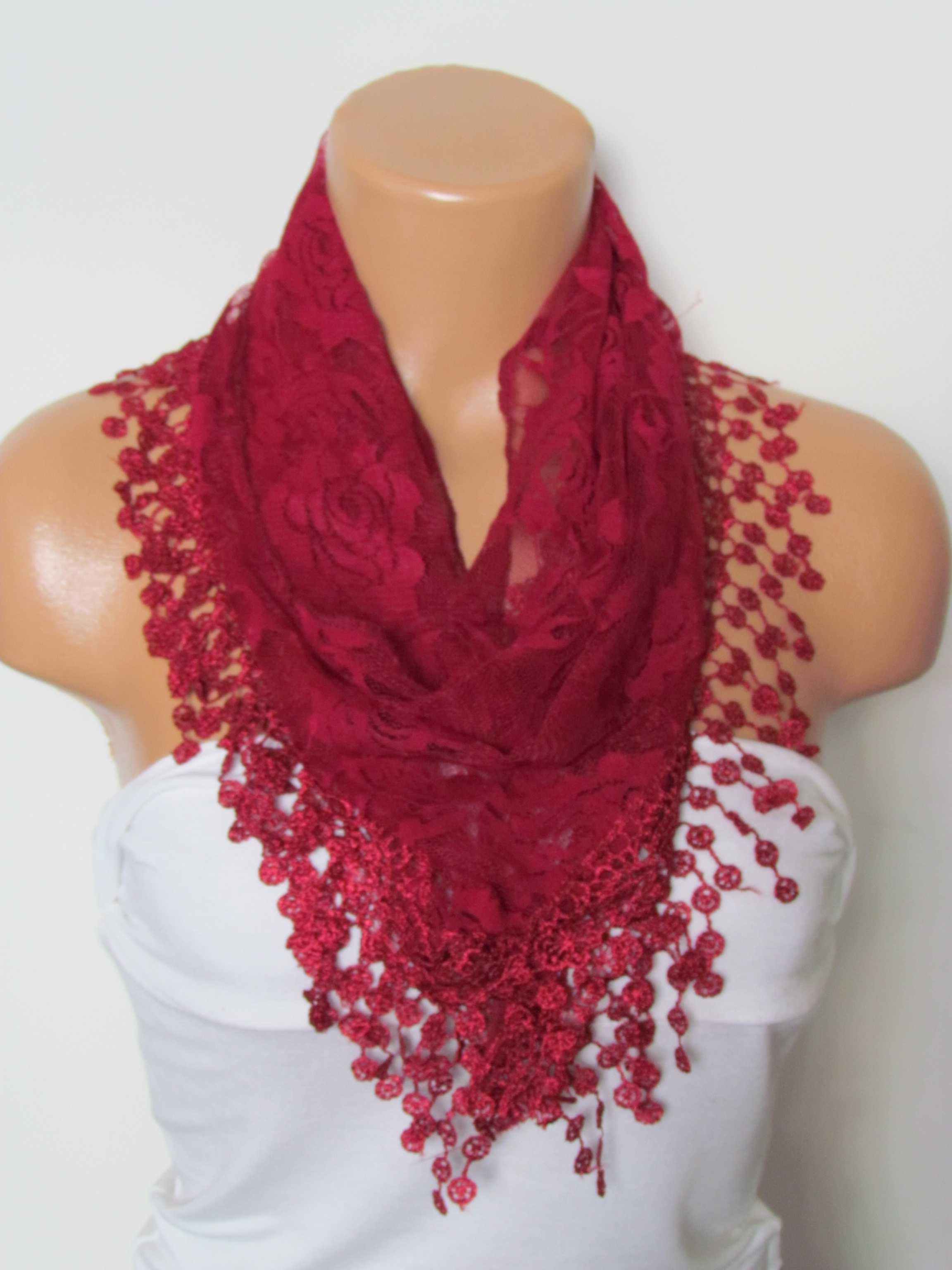 4b7aaba9f66f9 Claret Red Long Scarf With Fringe-Winter Fashion Scarf-Headband-Necklace- Infinity  Scarf- Winter Acc on Luulla